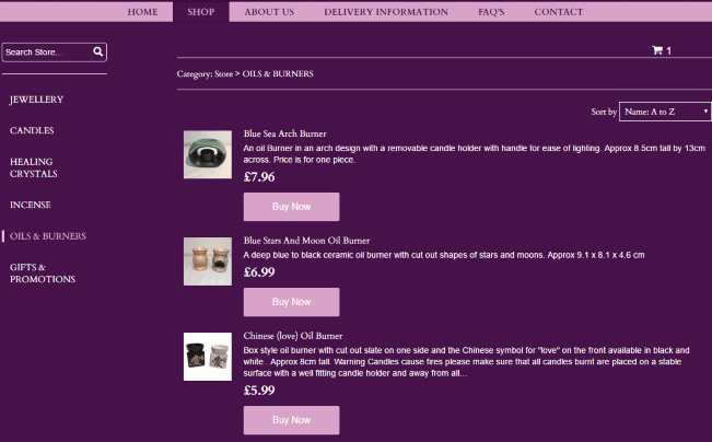 Moonlight and Magick eCommerce Products Page