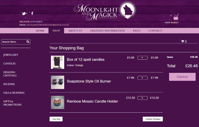 Moonlight and Magick eCommerce Basket Page