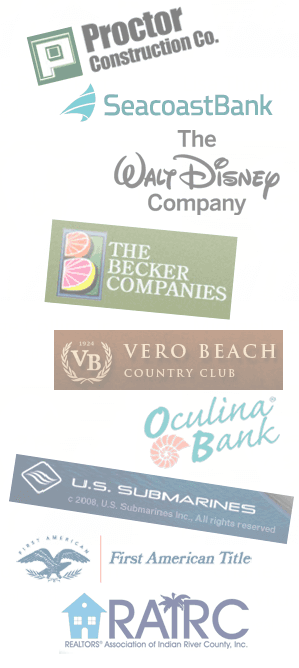 logos of Proctor Construction Co., SeacoastBank, The Walt Disney Company, The Becker Companies, Vero Beach Countru Club, Oculina Bank, U.S. Submarines, First American Title, RAIRC