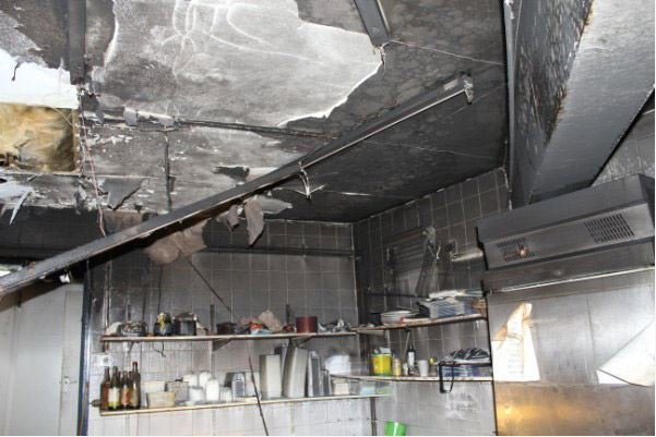 fire damamged commercial kitchen
