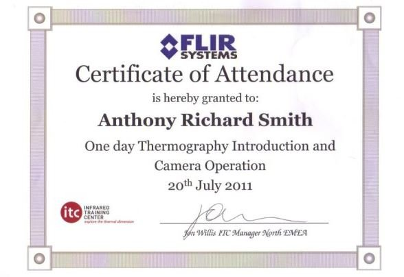 FLIR THERMOGRAPGHY training Certificate