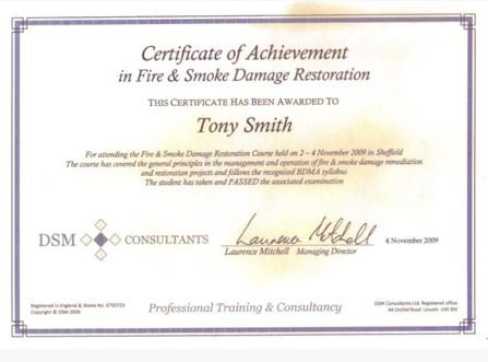 DSM Consultants Fire and Smoke Restoration Certificate
