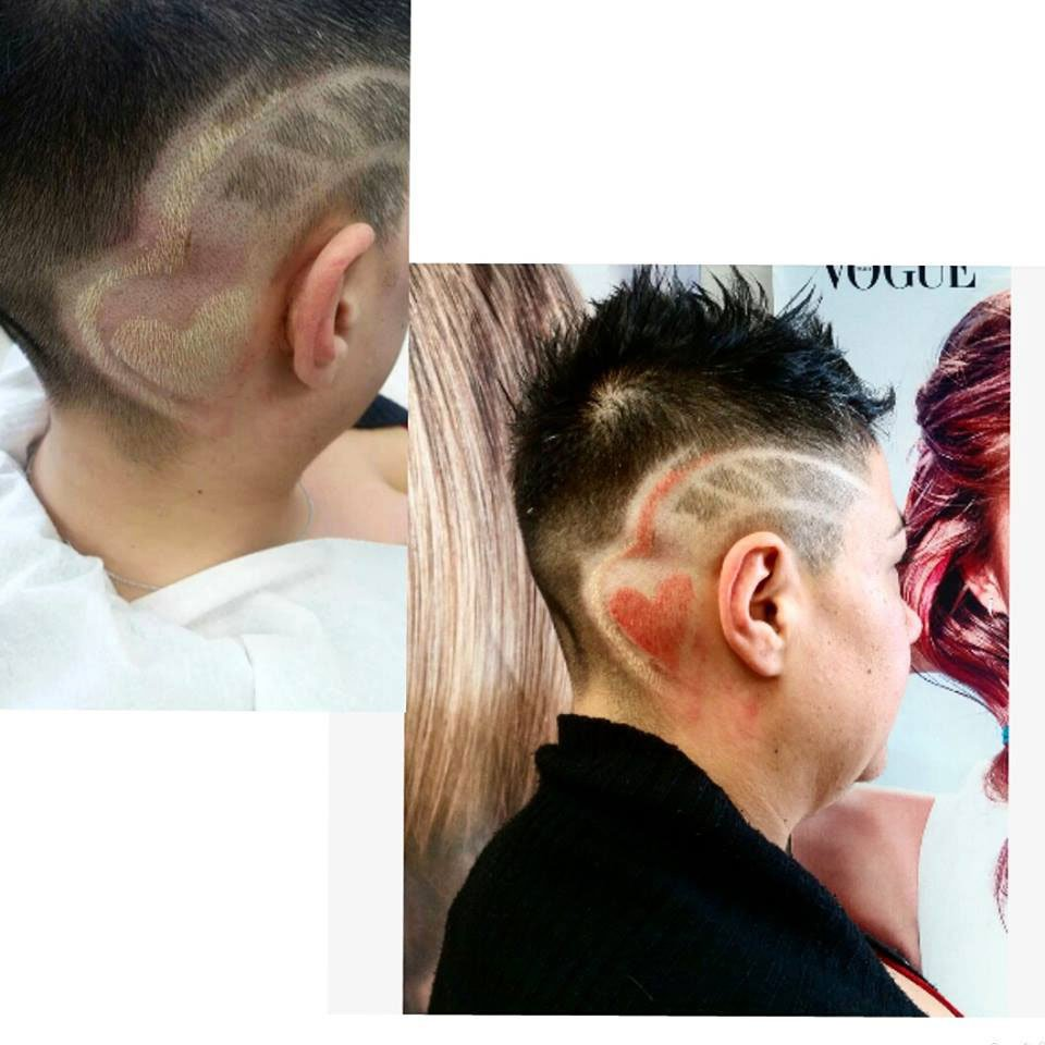 una foto di un ragazzo con capelli neri con un taglio moderno e ai lati un disegno di un cuore