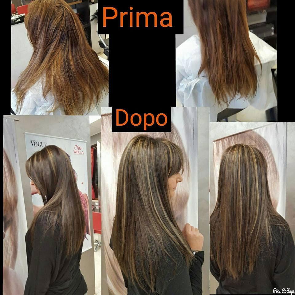 vita de prima e del dopo un taglio di capelli di una donna inizialmente con capelli lunghi rossi e dopo castani con meches bionde