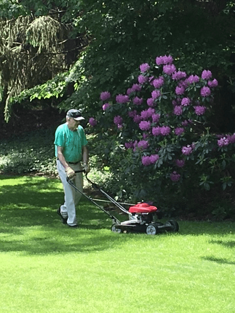 Lawn mower in action after being repaired by a professional in East Haven, CT