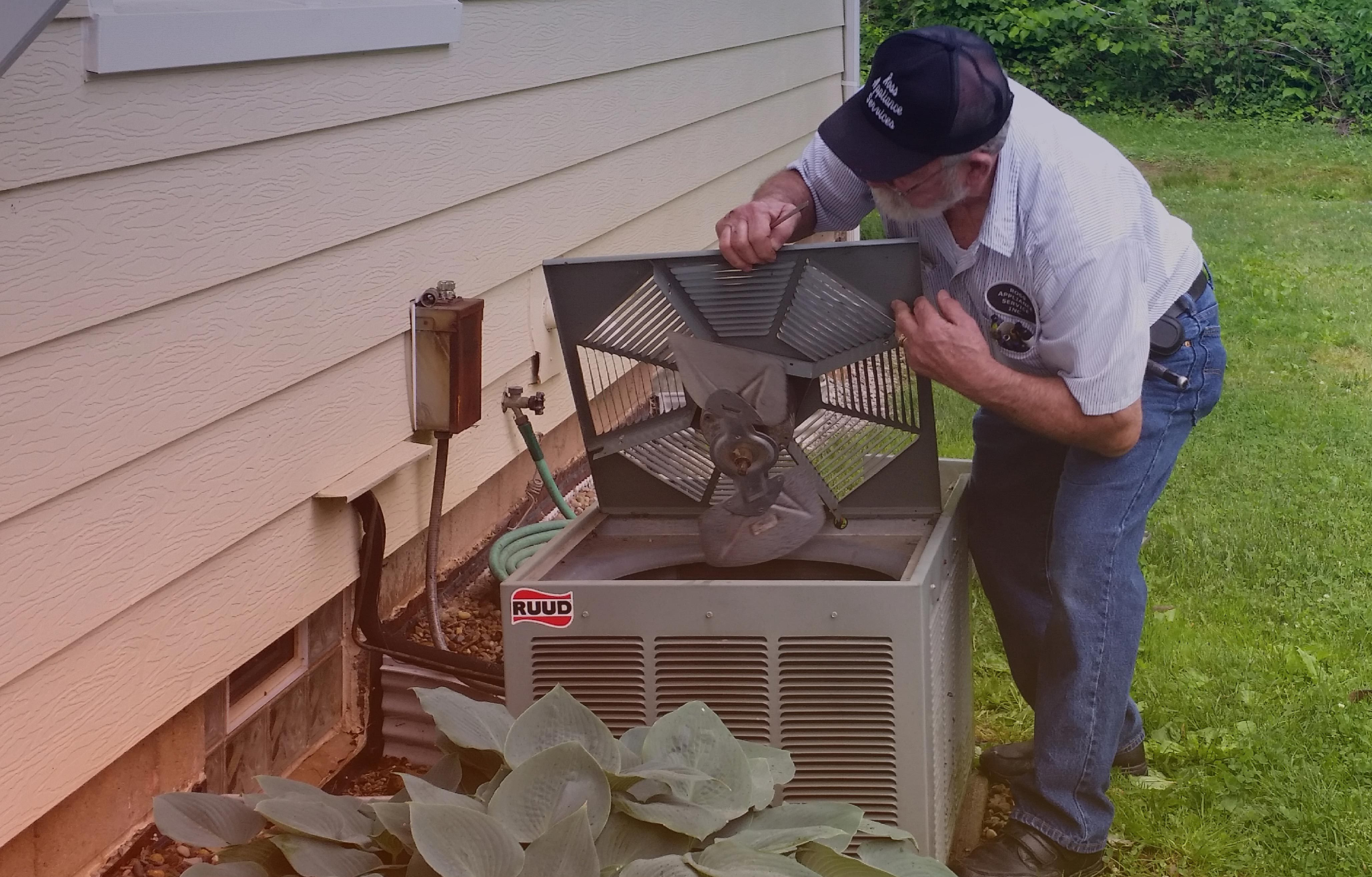 An AC unit receiving appliance repair in Avon Lake, OH