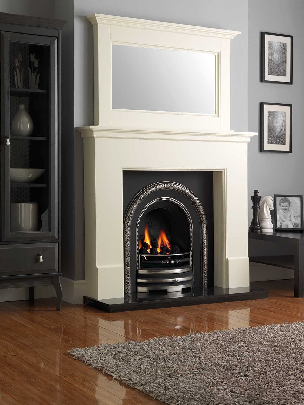 Warwick Surround in Olde English White with matching mirror
