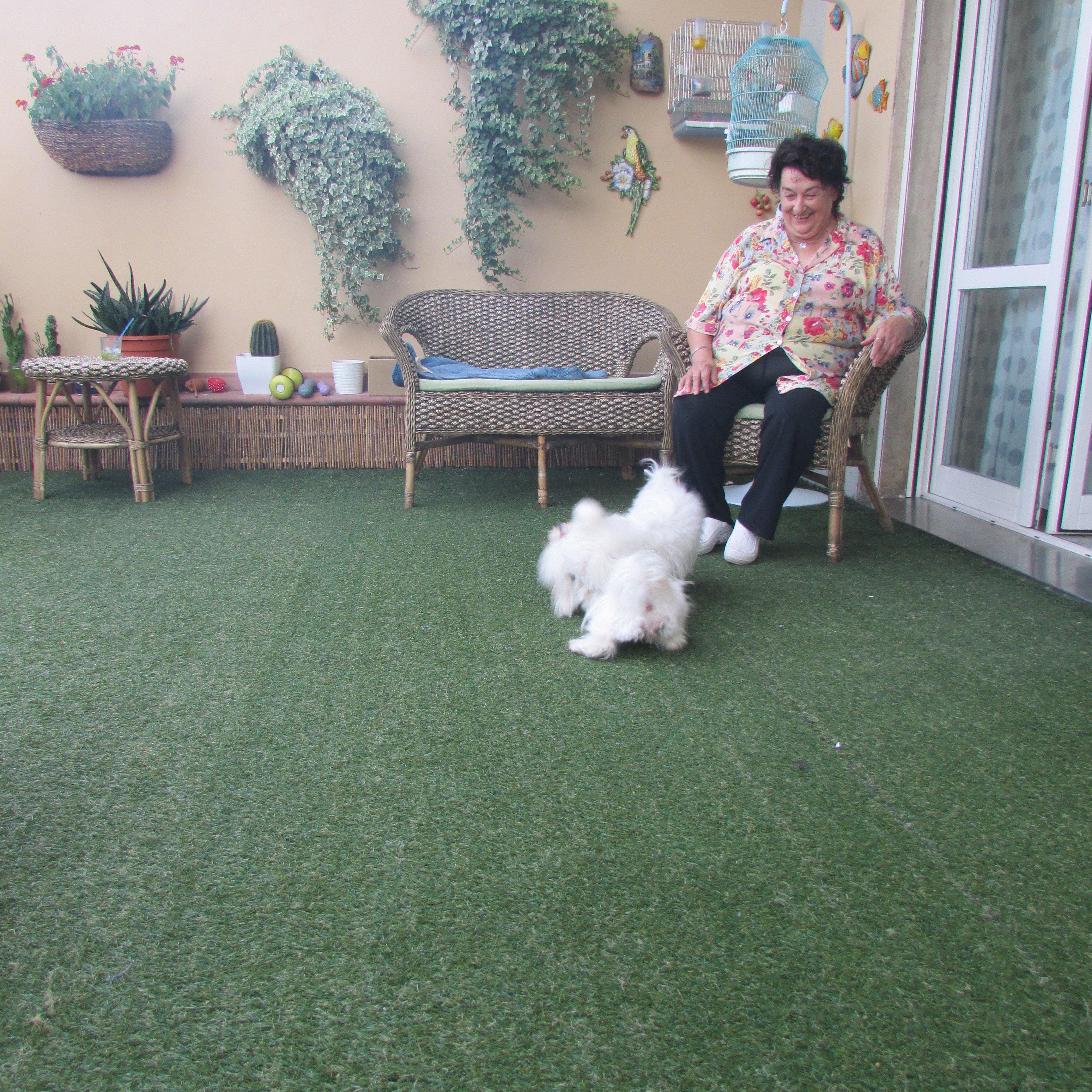 donna anziana che gioca con il cane
