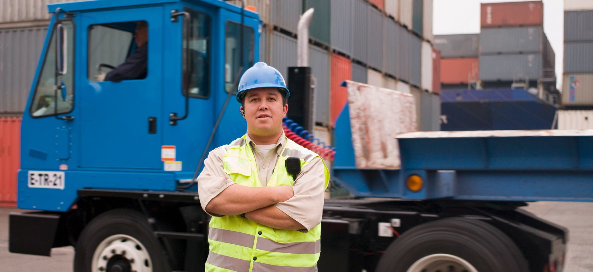 worker with truck and cargo