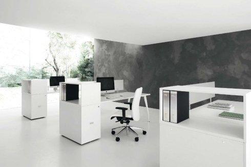 mobili ufficio opena space bianco scrivanie