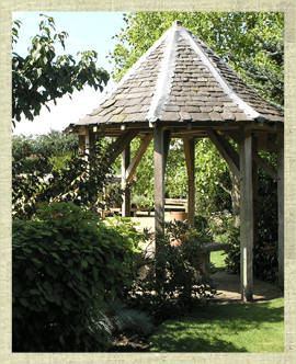 Garden with large timber gazrbo