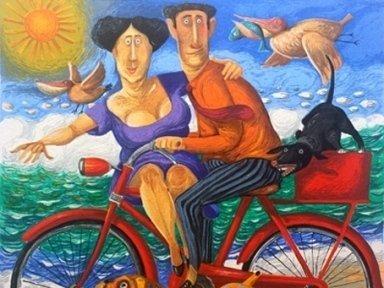 quadro colorato bicicletta Pizzirani