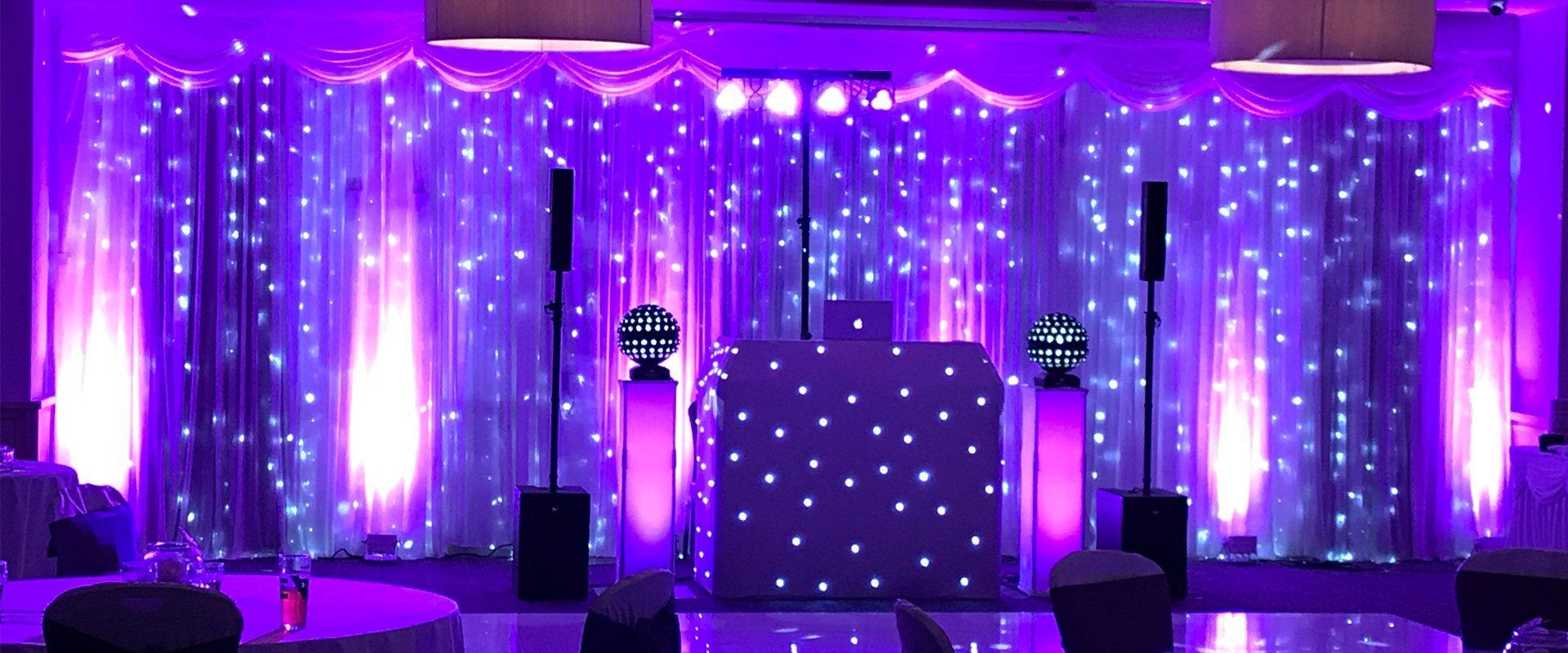 purple lights stage