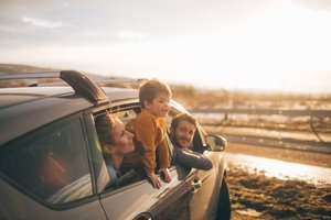 a family driving