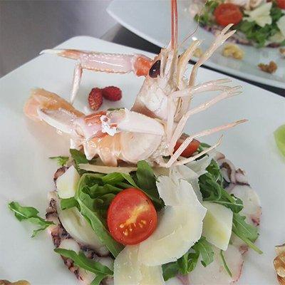 un piatto con uno scampo grana,pomodori,insalata e polipo