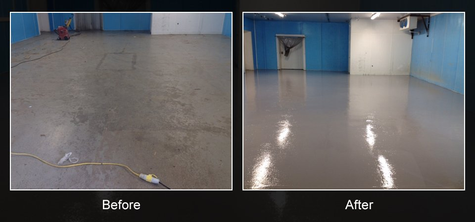 before and after  image of a floor