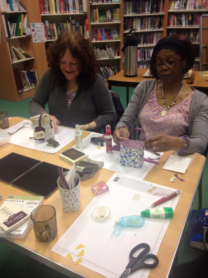 two ladies making cards