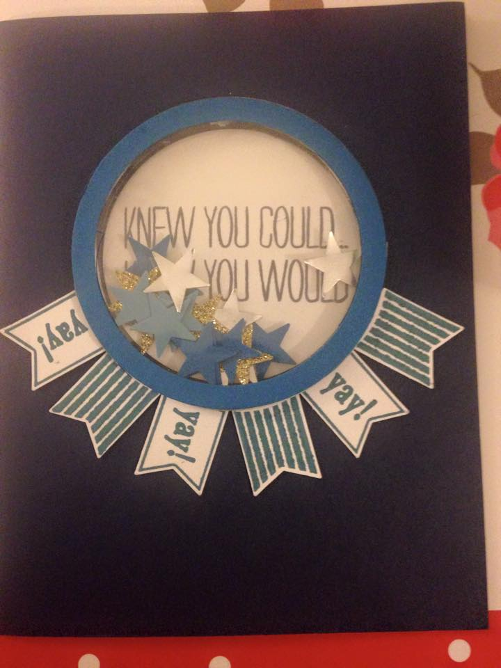 blue and white strips card