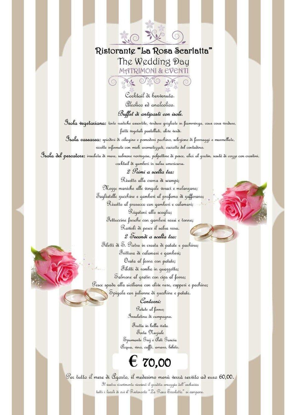 menu per ricevimenti