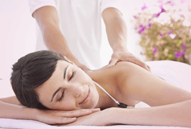 A lady enjoying a massage