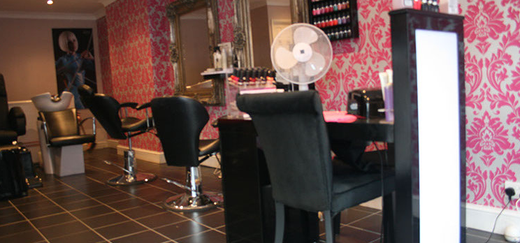 Manicure station and hairdressers' chairs