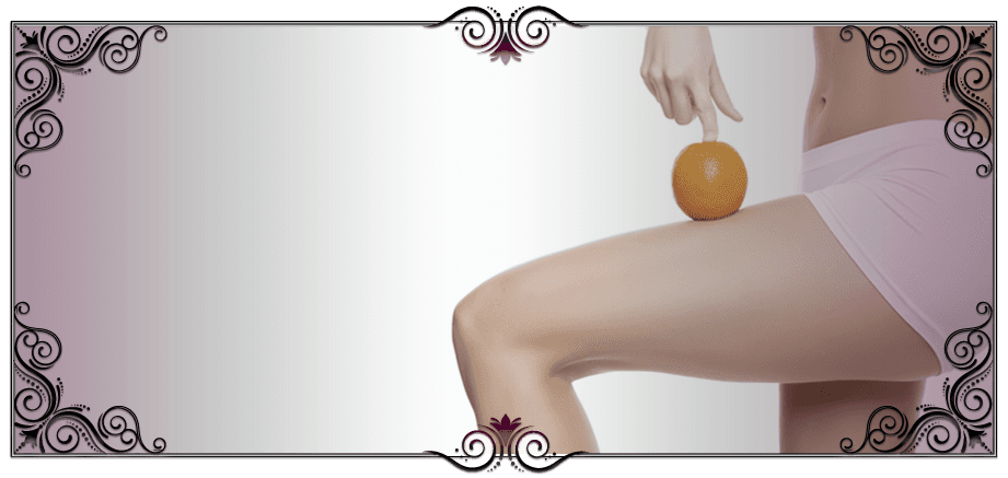 A lady balancing an orange on her thigh