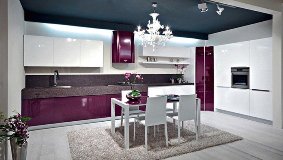 modern kitchen fuchsia and white