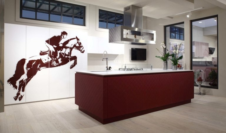 modern red and white kitchen
