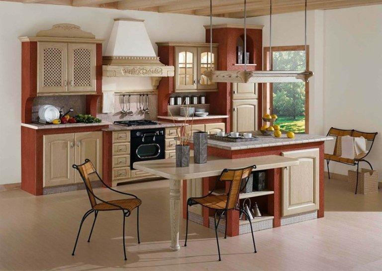 rustic beige and orange kitchens