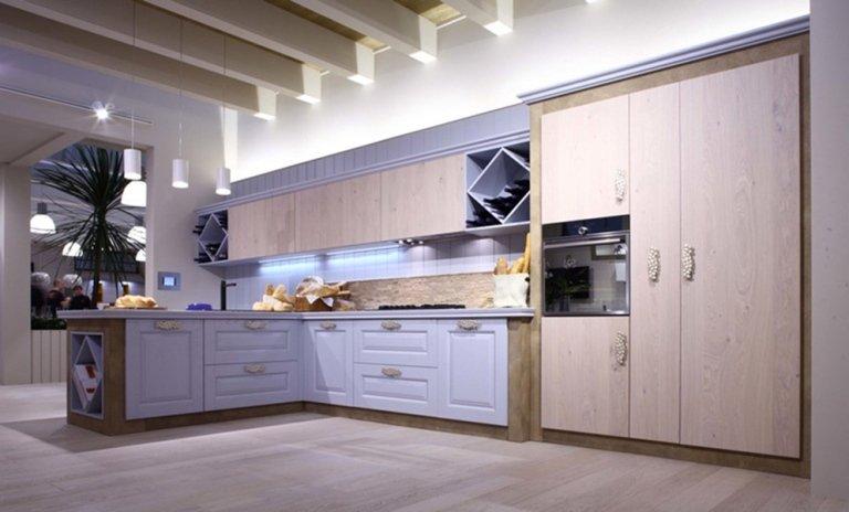 modern kitchen in light wood
