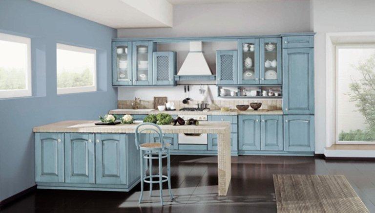 pale blue rustic kitchen