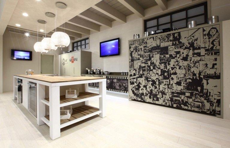modern kitchen black and white
