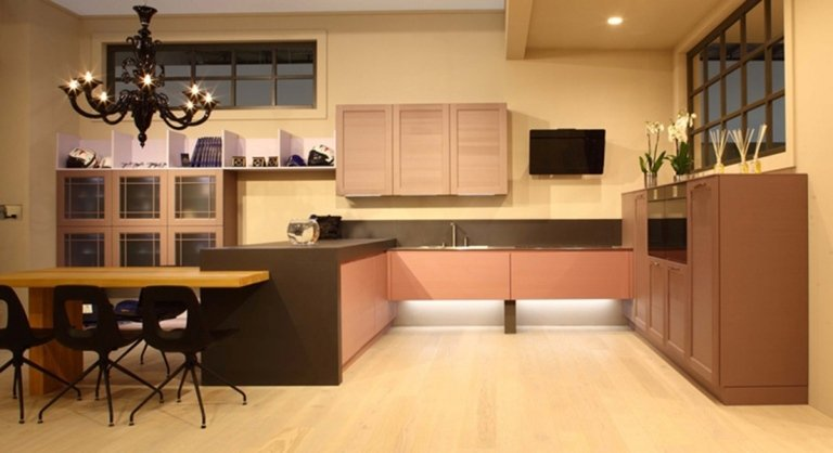 modern black and wood kitchen