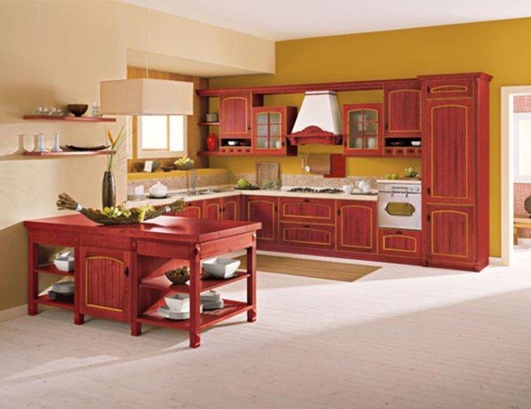 rustic orange kitchen