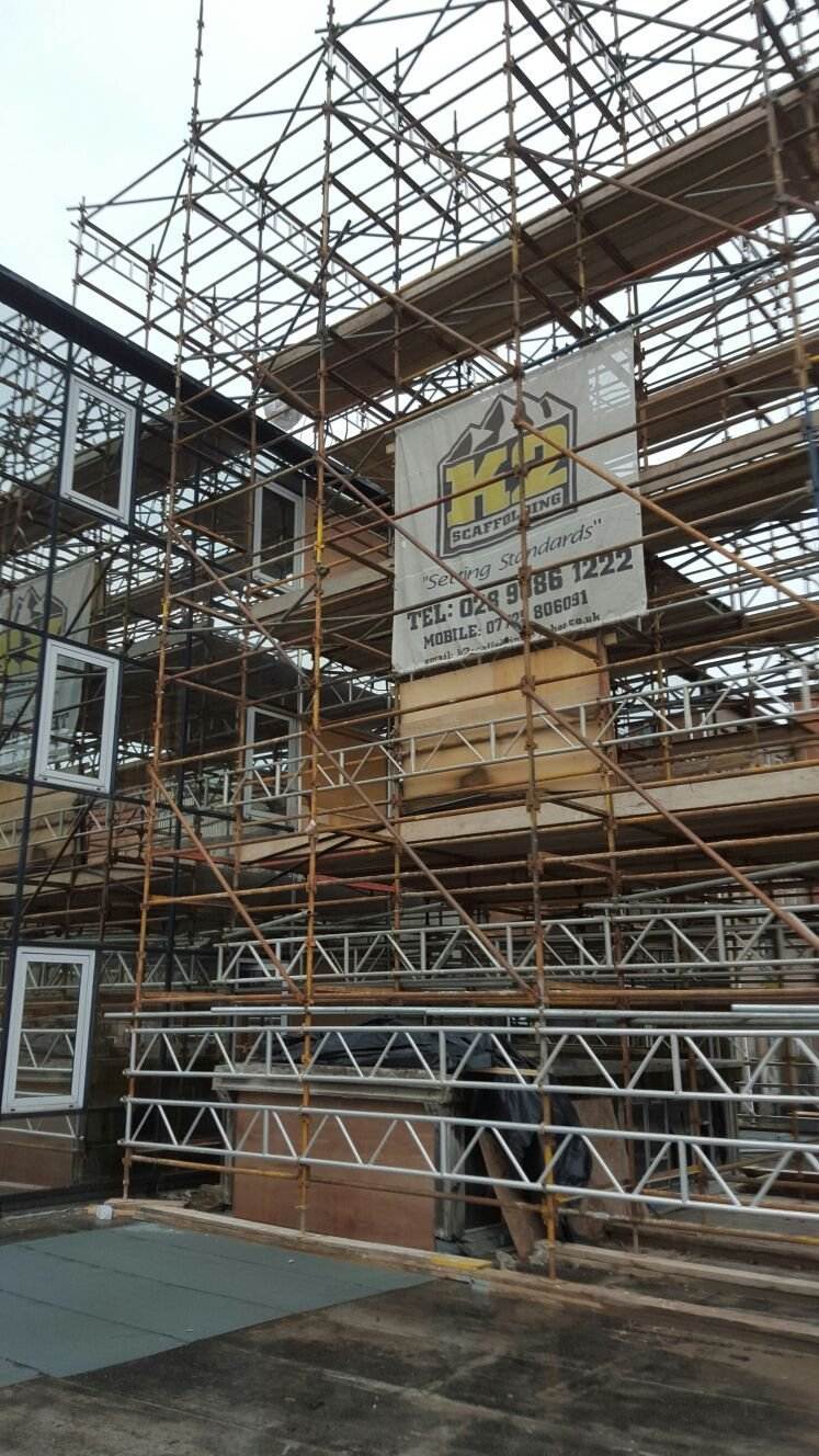 Scaffolding erection at The Bullitt Hotel