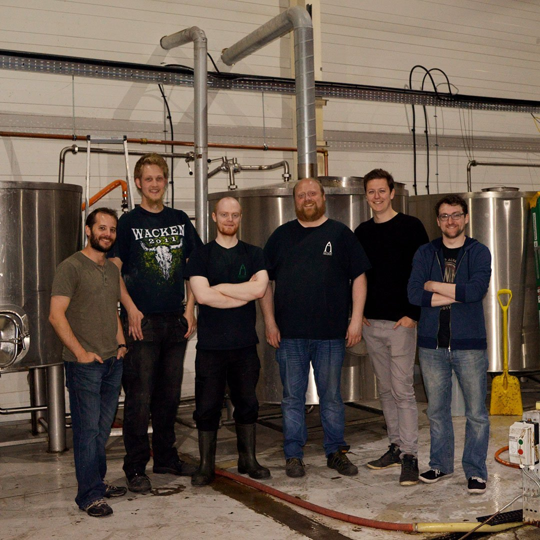 alechemy brewing bow bar group photo mash tun craft beer collaboration brewery