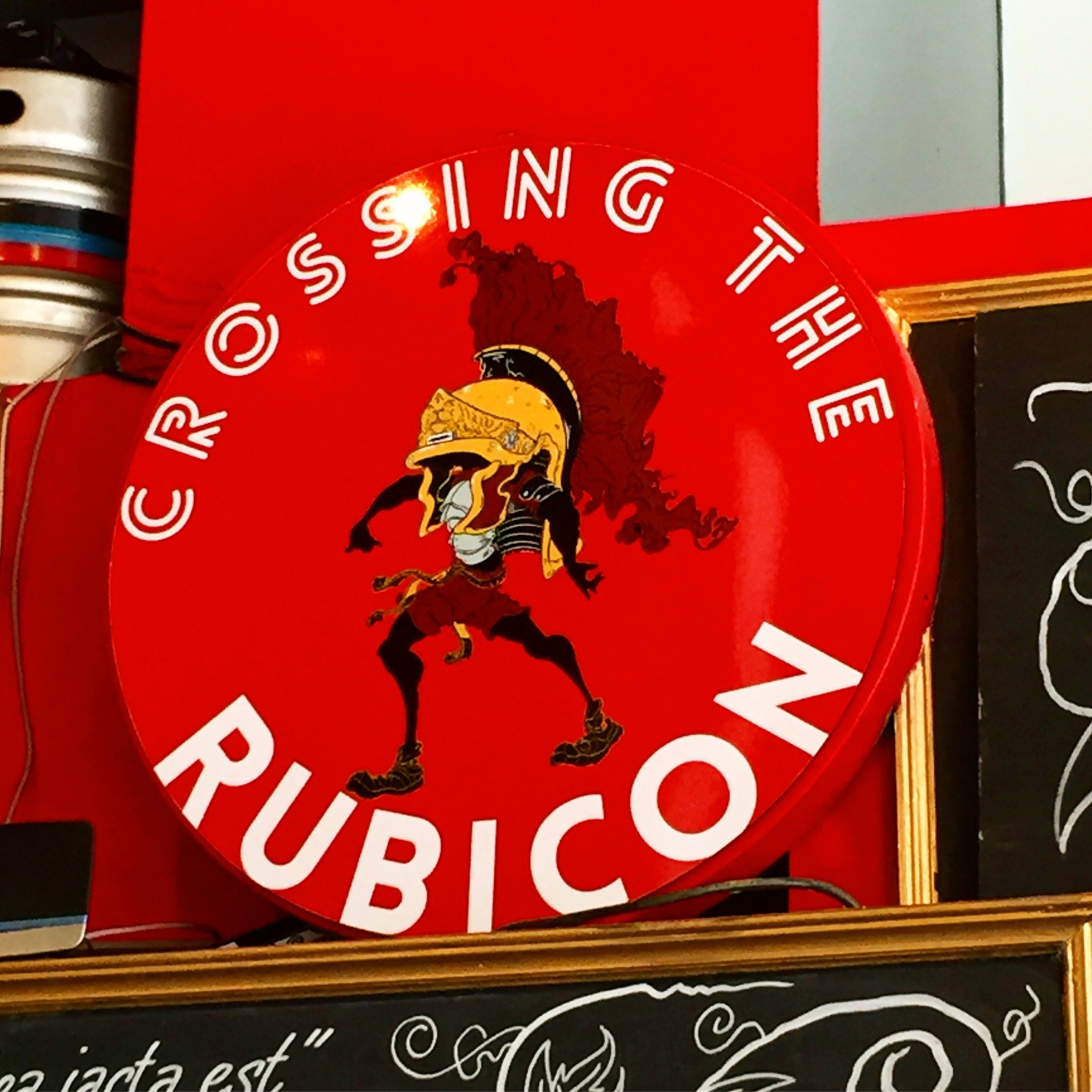 crossing the rubicon red logo alechemy event tap takeover name our beer