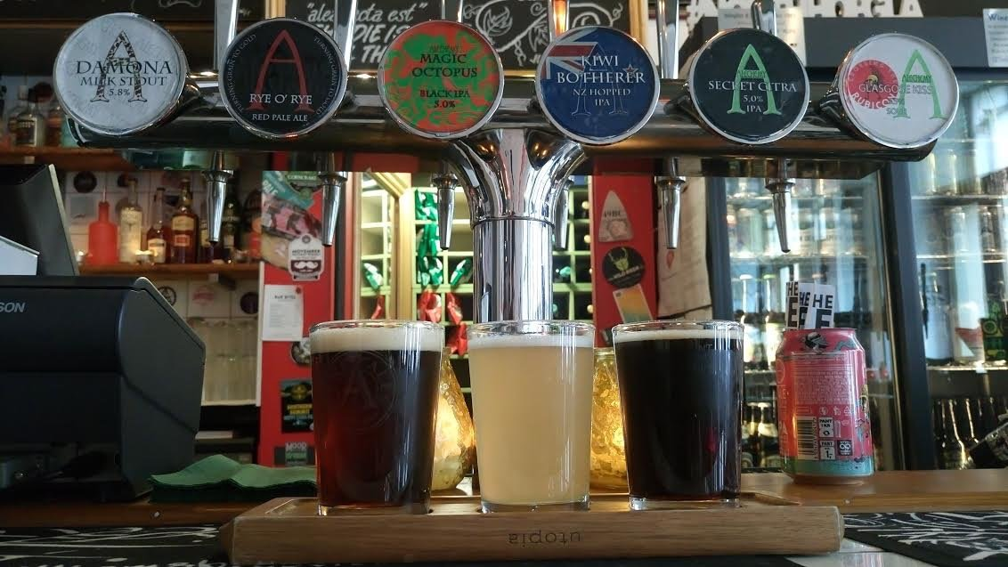 alechemy brewing craft beer crossing the rubicon beer flight brewery tap takeover damona milk stout rye o rye magic octopus kiwi botherer secret citra glasgose kiss glasgow sour ipa