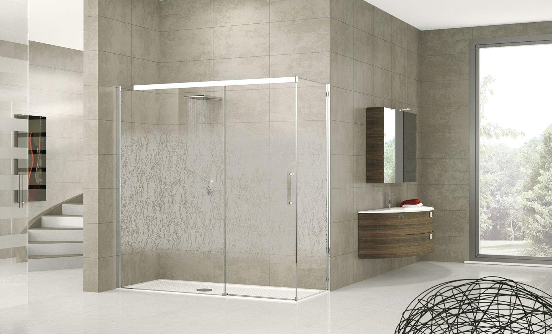 vista frontale di un box doccia-design moderno
