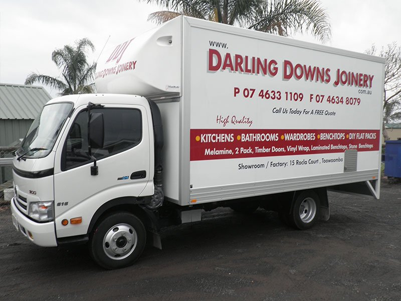 special cut lettering on truck