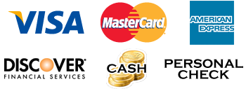 Payment icons: Visa, MasterCard, AMEX, Discover, cash and check