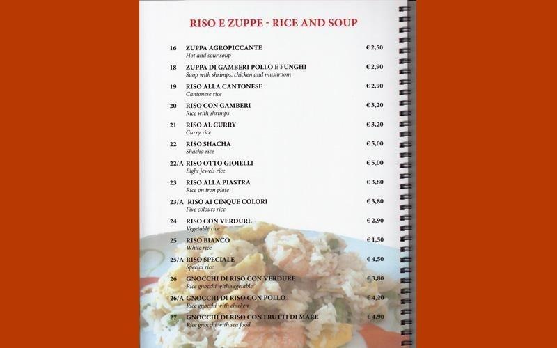 menù cinese zuppe