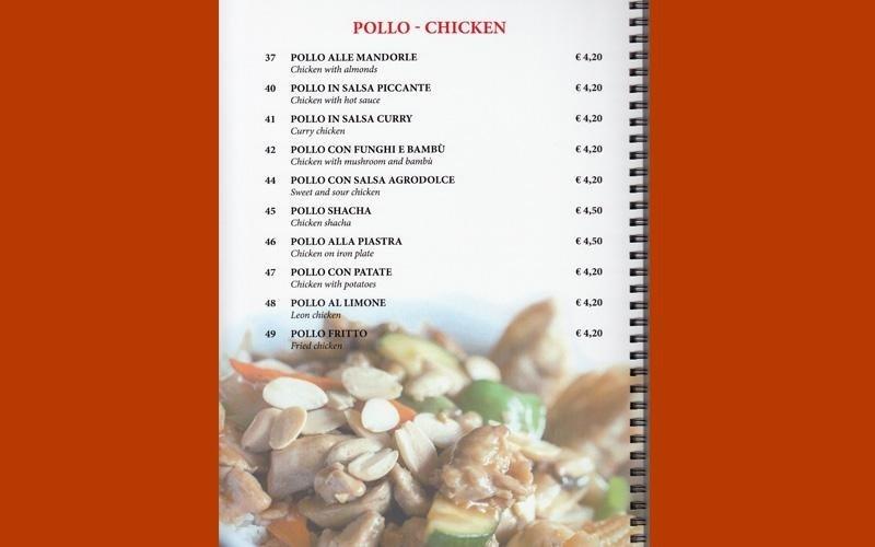 menù cinese pollo