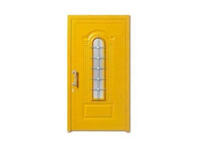 Porta gialla Mod. GEMINI K1 con vetro 2A2 e grata inox GI - CAF