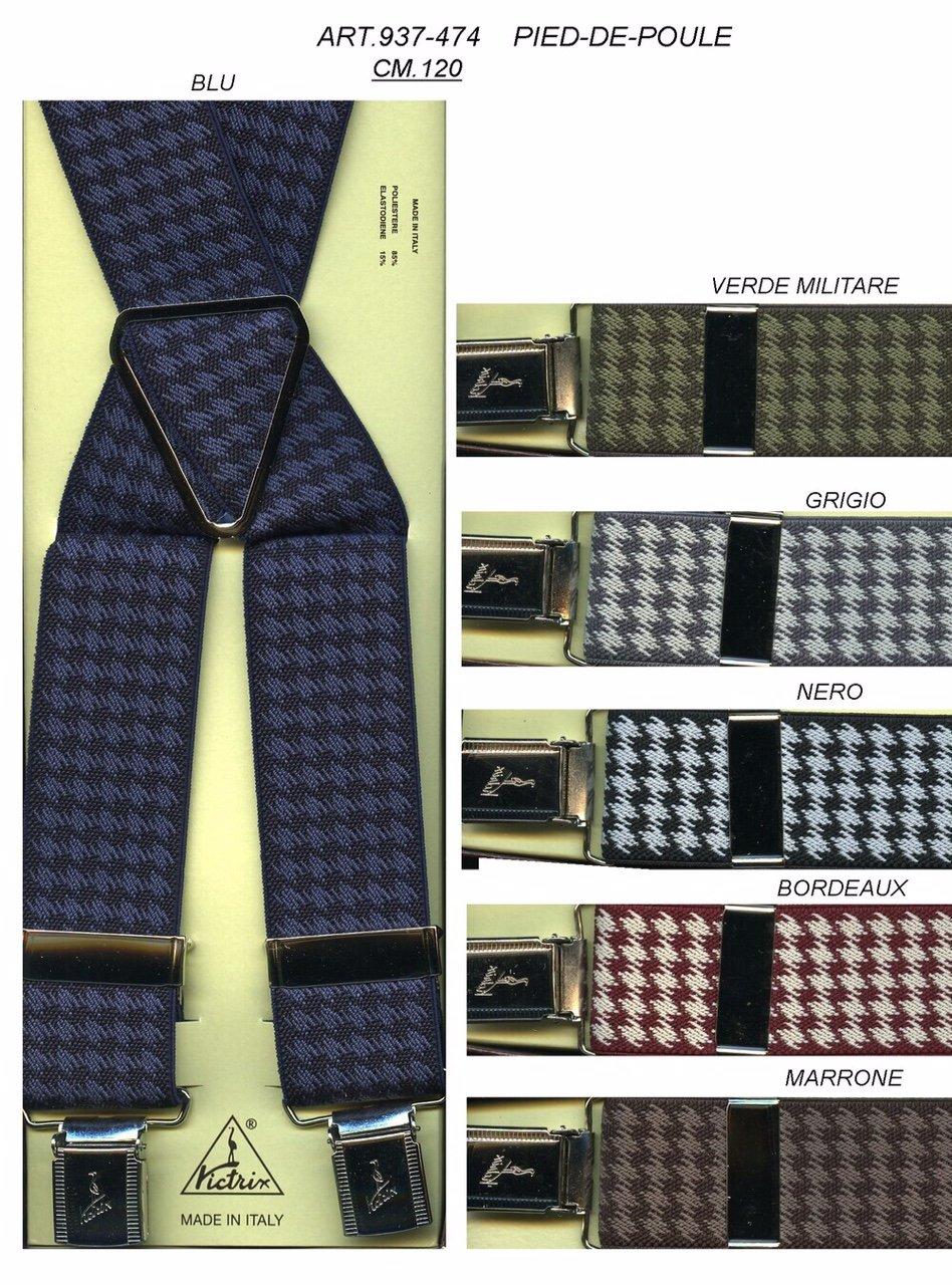 bretelle con quadrati di diversi colori con la bretella blu e nera in primo piano
