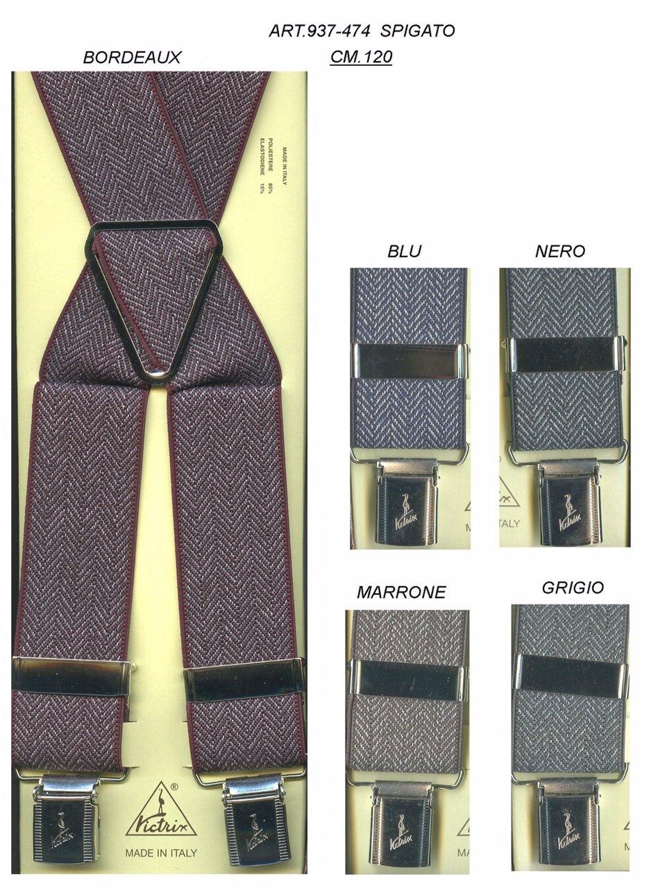 due bretelle di color blu e nero