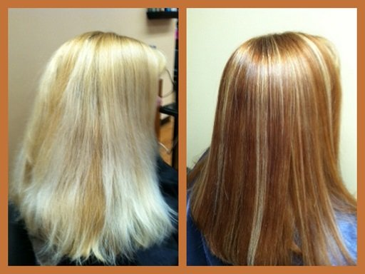 Toning down a bleach blonde with red tones