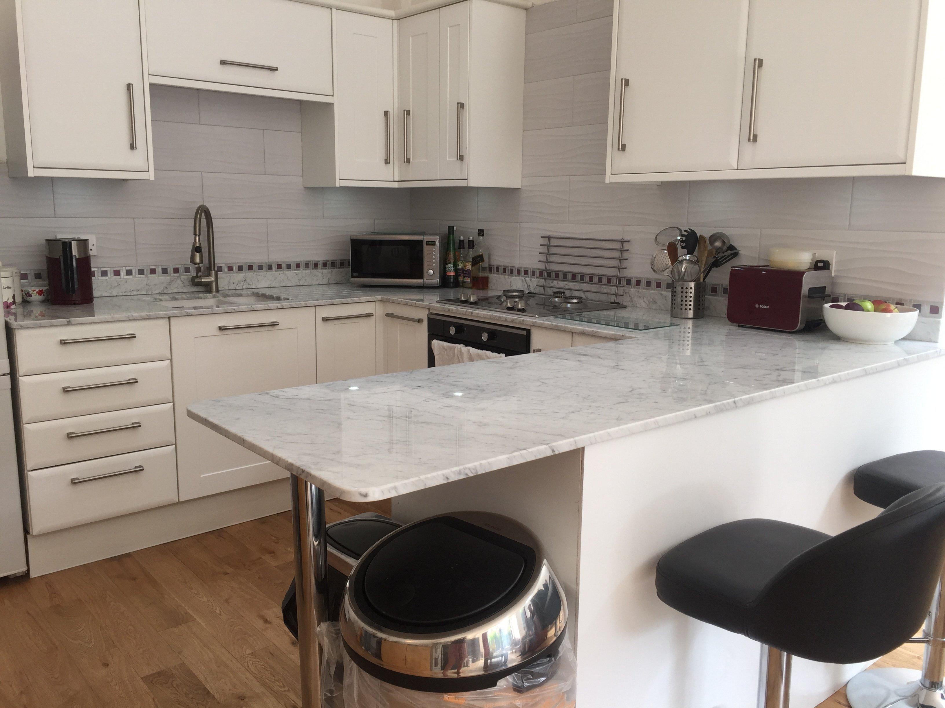 marble finishing installed kitchen