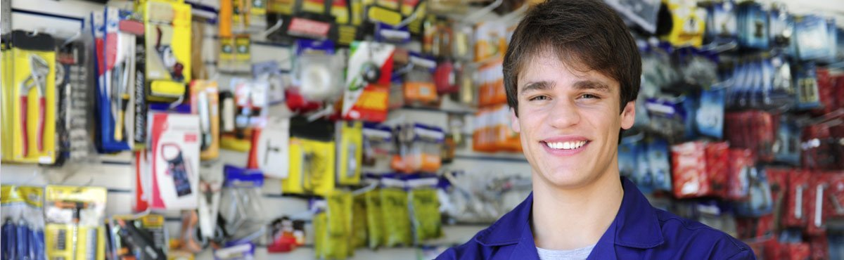 wallaroo hardware smiling sales person in hardware store