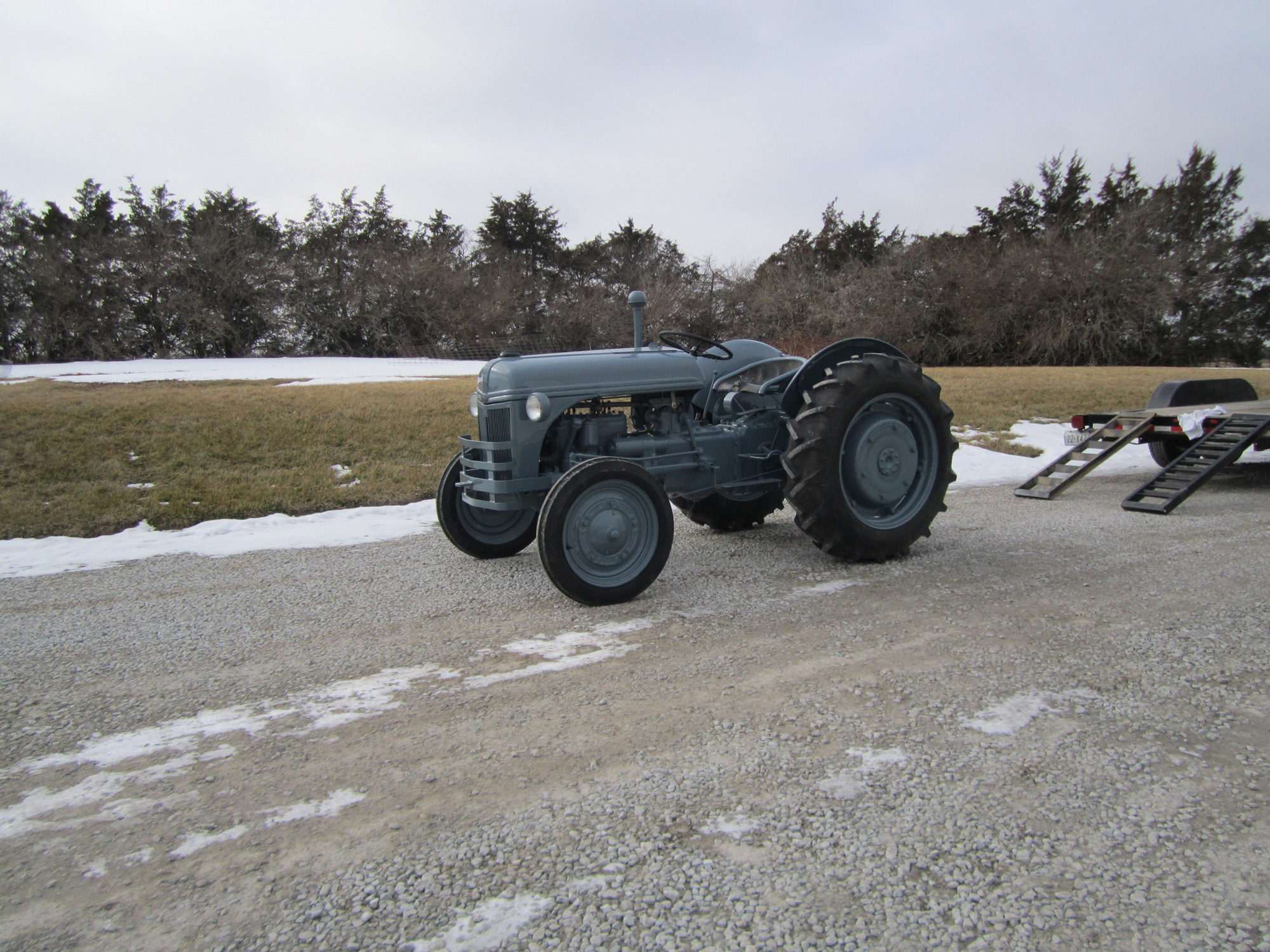 View of a tractor after affordable sandblasting service in Dorchester, NE